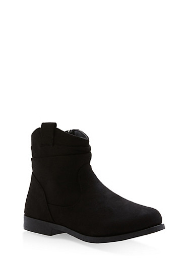 Girls 10-4 Faux Suede Ruched Booties,BLACK,large