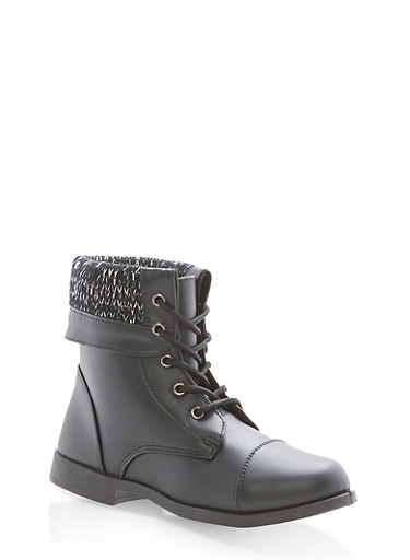 Girls 10-4 Fold Over Sweater Combat Boots,BLACK,large