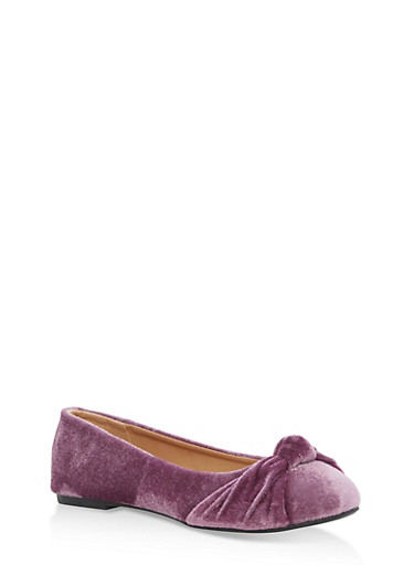 Infant 1-4 Youth 11 Knotted Velvet Flats,MAUVE,large