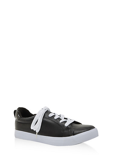 Girls 12-4 Faux Leather Lace Up Sneakers,BLACK,large