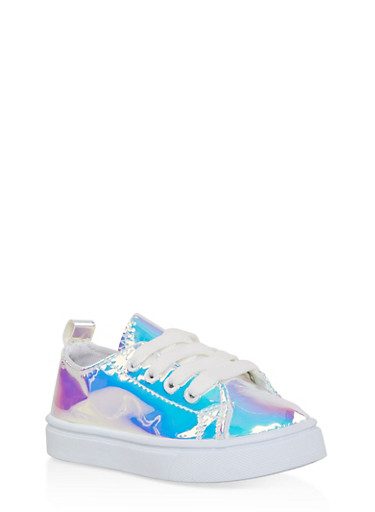 Girls 6-11 Iridescent Lace Up Sneakers,SILVER,large