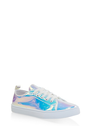 Girls 12-4 Iridescent Lace Up Sneakers,SILVER,large