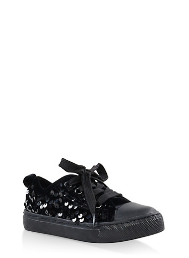 Girls 6-11 Velvet Sequin Lace Up Sneakers,BLACK,large