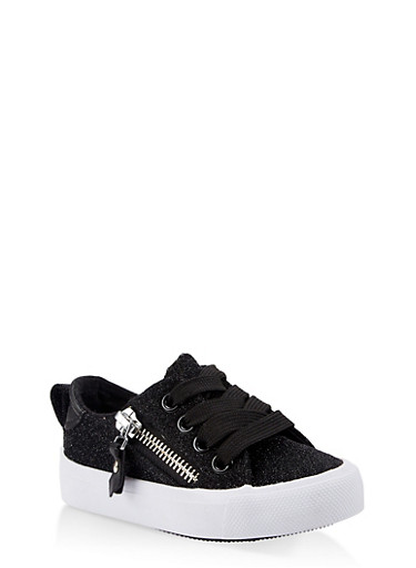 Girls 6-11 Glitter Lace Up Sneakers,BLACK,large