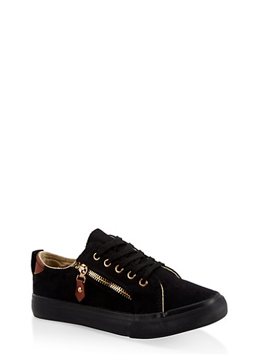Girls 12-4 Side Zip Sneakers,BLACK,large