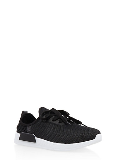 Girls 12-4 Mesh Lace Up Sneakers,BLACK,large