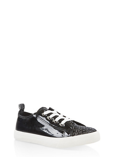Girls 12-4 Glitter Accent Lace Up Sneakers,BLACK,large