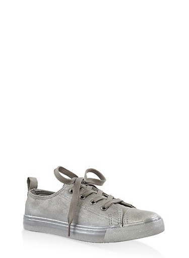 Girls 12-4 Glitter Lace Up Sneakers,SILVER,large