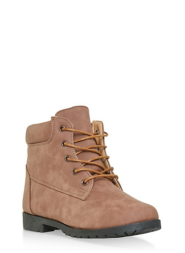 Girls 12-4 Lace Up Booties,MAUVE,large