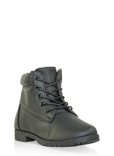 Girls 12-4 Lug Sole Boots,BLACK,large
