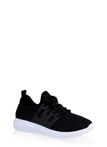 Girls 12-4 Knit Athletic Sneakers | 3736062720072,BLACK/WHITE,large