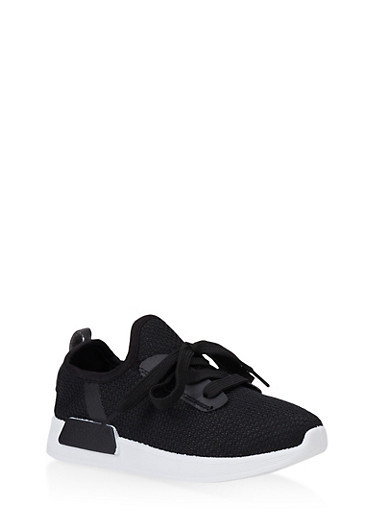 Girls 12-4 Knit Lace Up Sneakers   3736062720074,BLACK/WHITE,large