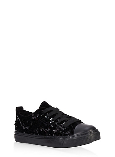 Girls 12-4 Velvet Sequin Lace Up Sneakers,BLACK,large