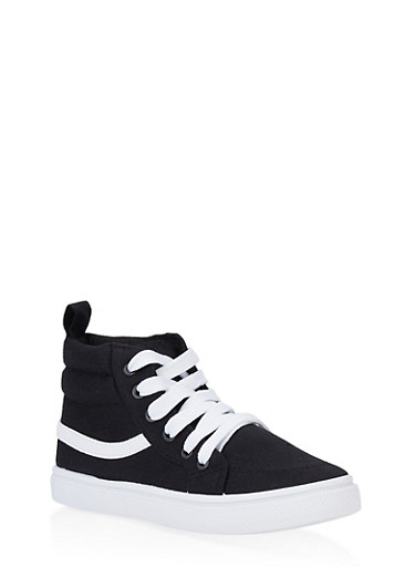Girls 12-4 Contrast Trim High Top Sneakers,BLACK/WHITE,large
