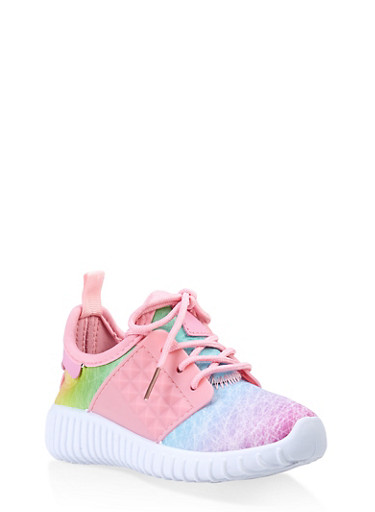 Girls 6-11 Athletic Knit Sneakers,WHITE,large