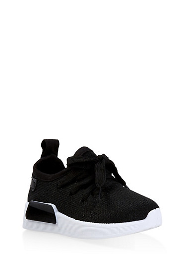 Girls 6-11 Athletic Shimmer Knit Sneakers,BLACK,large