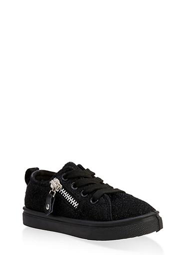 Girls 6-11 Side Zip Shimmer Knit Sneakers,BLACK,large