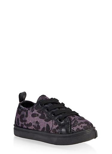 Girls 6-11 Leopard Print Sneakers,BLACK,large