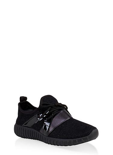 Girls 12-4 Athletic Sneakers,BLACK,large