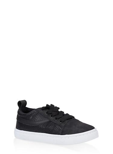 Girls 12-4 Embossed Faux Suede Sneakers,BLACK,large