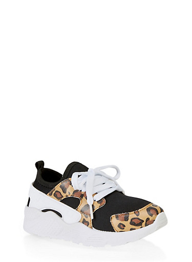 Girls 12-4 Athletic Platform Sneakers,BLACK,large