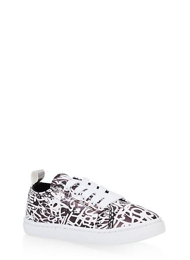Girls 12-4 Graffiti Lace Up Sneakers,BLACK,large
