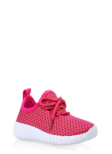 Girls 6-11 Knit Lace Up Athletic Sneakers,NEON PINK,large