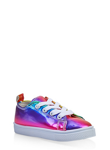 Girls 6-11 Multi Color Lace Up Sneakers,MULTI COLOR,large