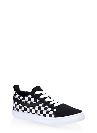 Girls 12-4 Checkered Lace Up Sneakers,BLACK/WHITE,large