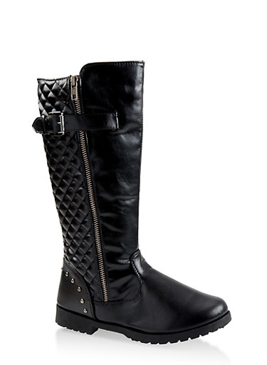Girls 12-4 Tall Quilted Riding Boots,BLACK,large