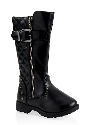 Girls 5-10 Tall Quilted Boots,BLACK,large