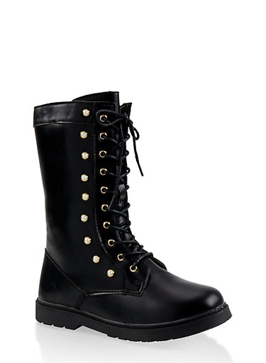 Girls 11-4 Faux Pearl Studded Combat Boots,BLACK,large
