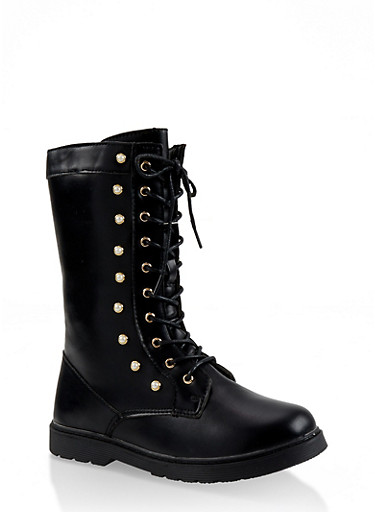 Girls 11-4 Tall Faux Pearl Studded Combat Boots,BLACK,large