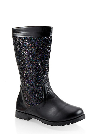 Girls 12-4 Glitter Riding Boots,BLACK,large