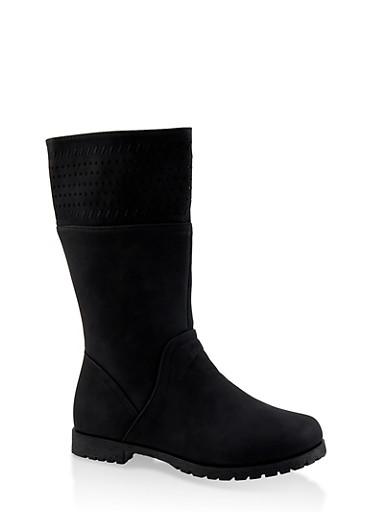 Girls 12-4 Faux Suede Laser Cut Boots,BLACK,large
