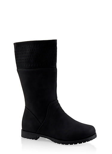 Girls 12-4 Faux Suede Laser Cut Boots,BLACK,large
