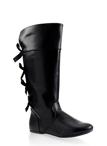 Girls 12-4 Tall Bow Detail Boots,BLACK,large