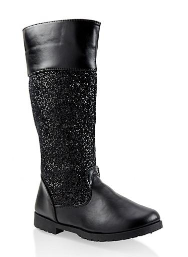 Girls 11-4 Glitter Riding Boots,BLACK,large