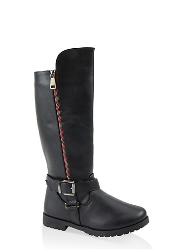Girls 11-4 Buckle Detail Riding Boots,BLACK,large