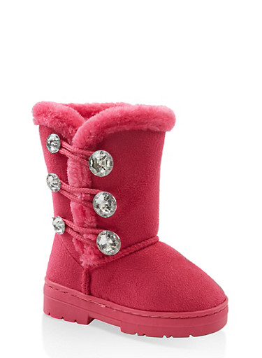 Girls 5-12 Faux Fur Lined Boots,FUCHSIA,large