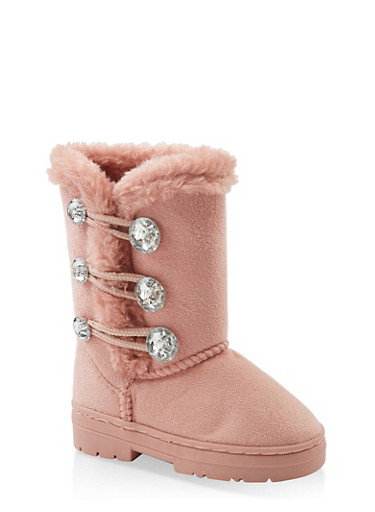 Girls 5-12 Rhinestone Button Faux Fur Lined Boots,BLUSH,large