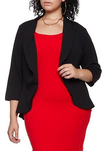 Plus Size Collared Crepe Knit Blazer,BLACK,large