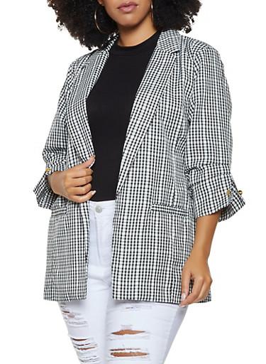 Plus Size Printed Blazer,BLACK/WHITE,large