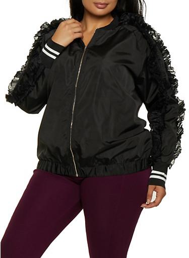 Plus Size Organza Ruffle Detail Jacket,BLACK,large