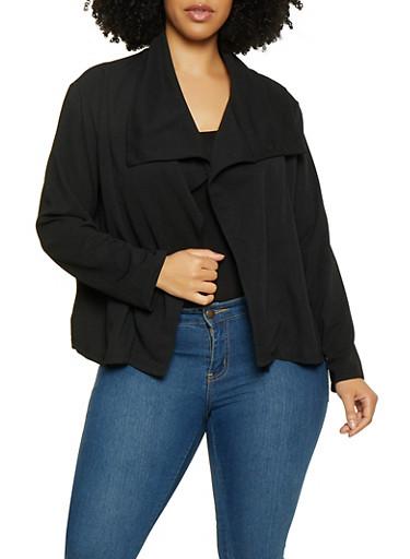Plus Size Flyaway Crepe Blazer,BLACK,large