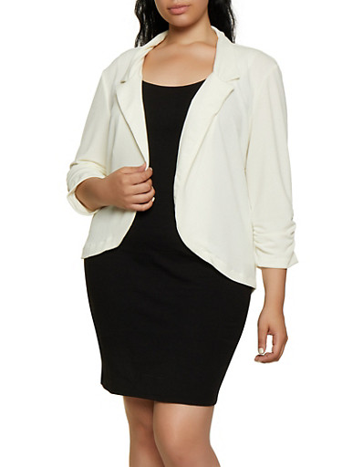 Plus Size Ruched Sleeve Crepe Knit Blazer,IVORY,large