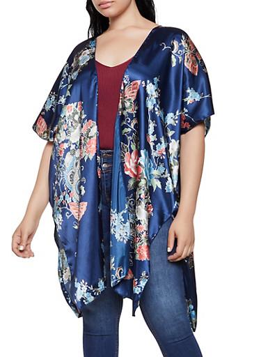 Plus Size Satin Floral Kimono,NAVY,large
