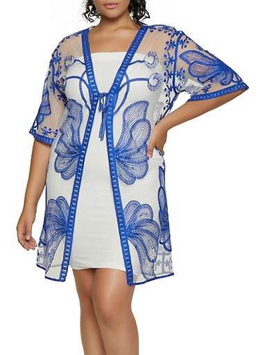 Plus Size Tie Front Embroidered Mesh Kimono,WHITE,large