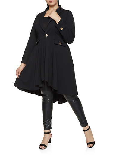 Plus Size Crepe Knit Jacket,BLACK,large