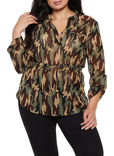 Plus Size Cinched Waist Camo Top,OLIVE,large